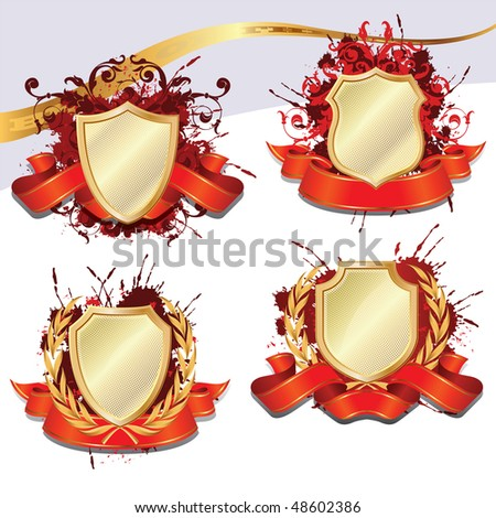 Set of gold heraldic Shield for decoration and design - stock vector