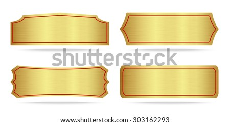 Set of Gold label metal or Metallic gold name plate .Vector illustration