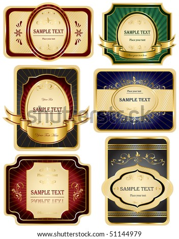 Set of Gold labels, illustration - stock vector