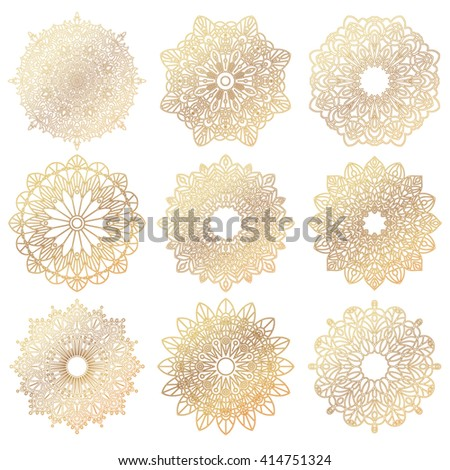 Set of gold mandalas. Geometric circle element made in a vector. It can be used for different type design, birthday and other holiday, color book, T-shirts, medallions, yoga, India, Arabic - stock vector