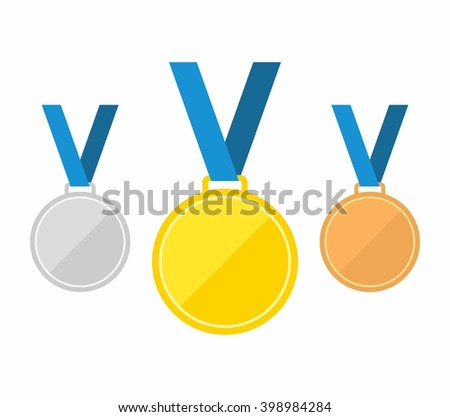 Set of gold medal, silver medal and bronze medal. Medals icons in flat style. Medals Icons isolated on white background. Medals Vector - stock vector