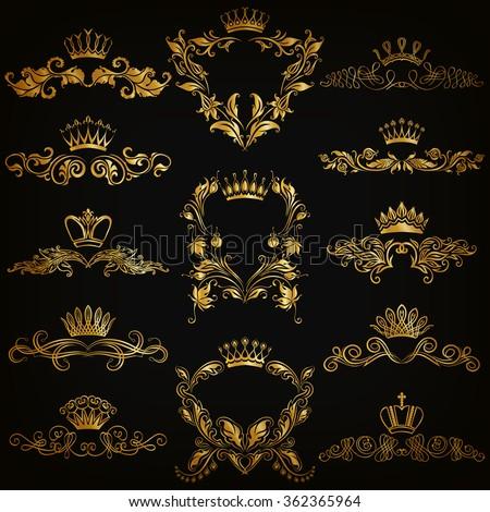 Set of gold monogram for graphic design on black background. Royal graceful frame, filigree border, crown, floral element in vintage style for wedding invitation, card, logo. Vector illustration EPS10 - stock vector