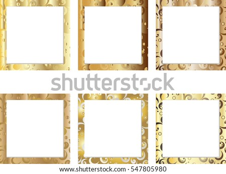 Set Gold Patterned Frames Photos Your Stock Vector HD (Royalty Free ...