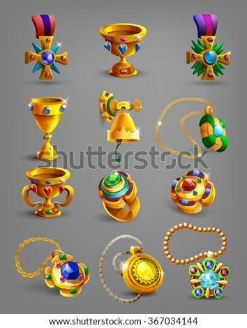Set of gold reward, treasure, achievement and token. Vector illustration. - stock vector