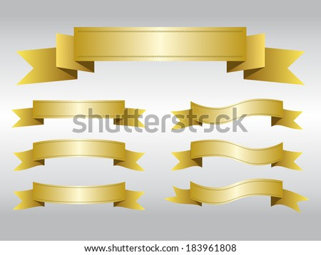 Set of gold ribbon banners, Vector graphicv - stock vector