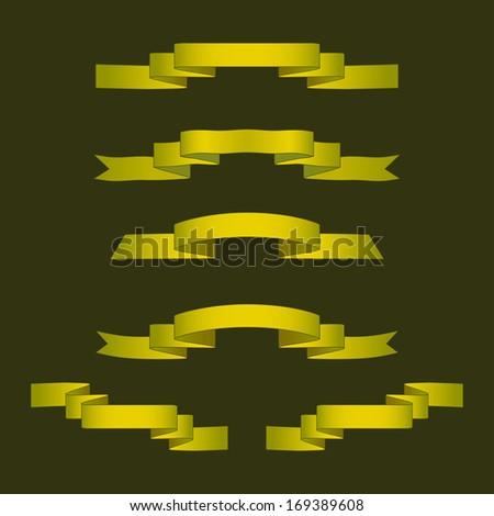 Set of gold ribbons - stock vector