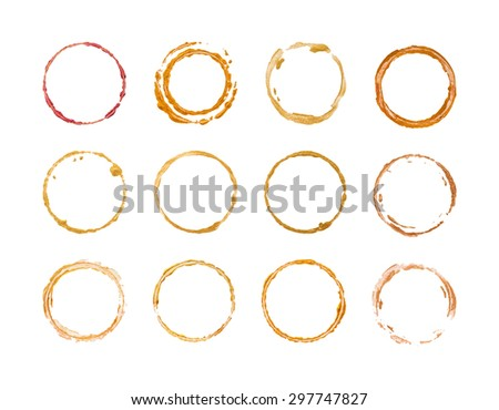 Set of gold round frames isolated on white