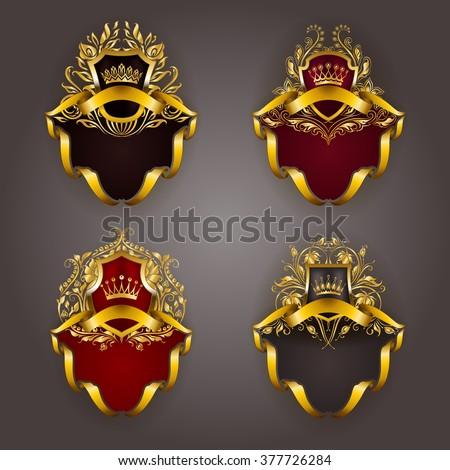 Set of gold royal shields for graphic design on background. Old graceful frame,  border, crown, floral element, ribbon in vintage style for icon, label, emblem, badge, logo. Vector illustration EPS10 - stock vector