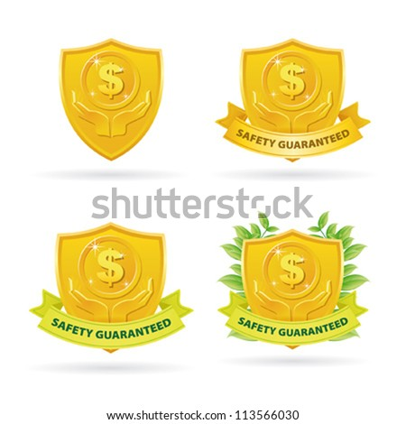 Set of Gold Safety Care money label icons - stock vector
