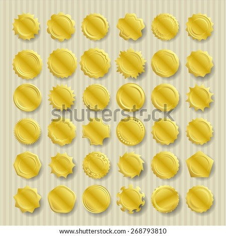 Set of 36 gold seals. Vector gold seal set - stock vector