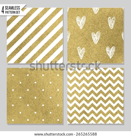 Set of 4 gold seamless patterns - stock vector