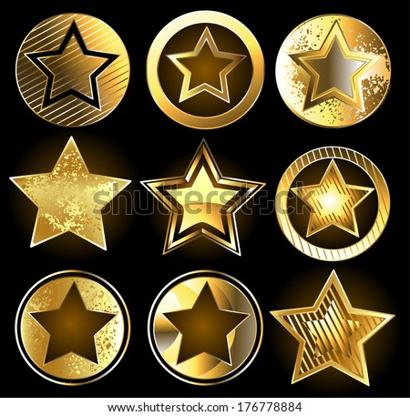 Set of gold, shining military stars on a black background - stock vector