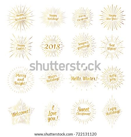 Set of gold signs with the text and a sunburst for different occasions: Birthday, Christmas, New Year, etc.