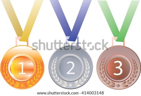 Set of gold, silver and bronze