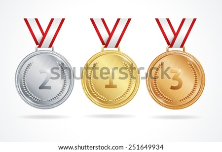 Set of gold, silver and bronze medals for winners  - stock vector
