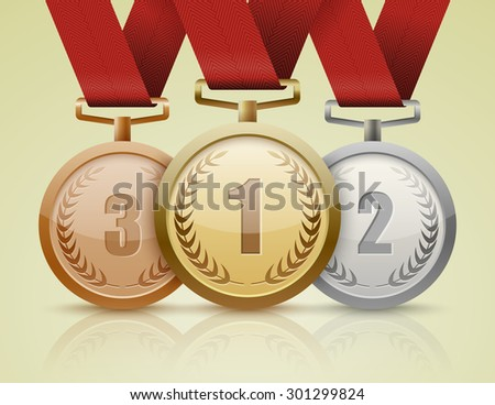 Set of gold, silver and bronze medals. vector - stock vector