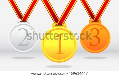 Set of gold, silver and bronze medals.vector