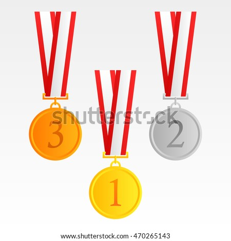 Set of gold, silver and bronze medals.with red ribbon vector in the white background