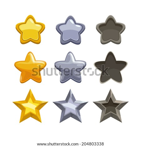 Set of gold, silver and non-active cartoon stars, elements for game. Isolated vector on the white background. - stock vector