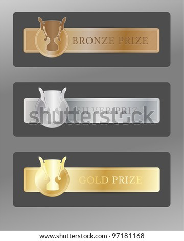 Set of gold, silver & bronze trophy cups for first, second & third places on metal badges - stock vector