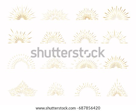 Set of gold sunburst elements.