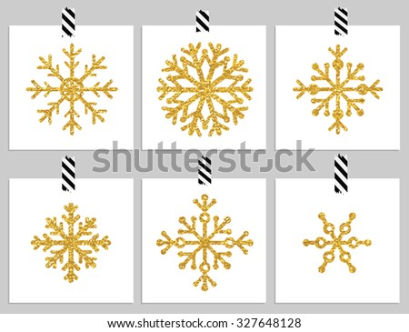 Set of 6 gold textured snowflakes on cards. Happy holiday and merry cristmas cards. Vector illustration - stock vector
