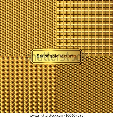 Set of gold textures - stock vector