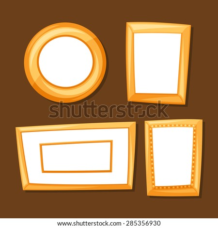 Set of gold various frames on brown background. - stock vector