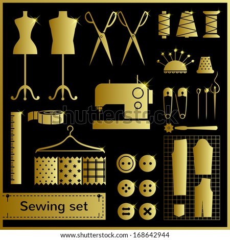 Set of gold vector icons with sewing elements - stock vector