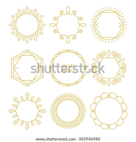 Set of gold vintage vector frames in linear style. Vector emblems, badges, hipster logo templates. Perfect for retro invitations and greeting cards - stock vector