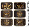 set of gold vip cards with pattern - stock vector