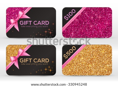 Set of golden and pink glitter vector black gift cards templates - stock vector