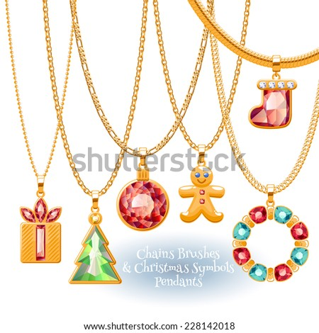 Set of golden chains with Christmas  symbols pendants. Precious necklaces. Include chains brushes. Holiday design. - stock vector