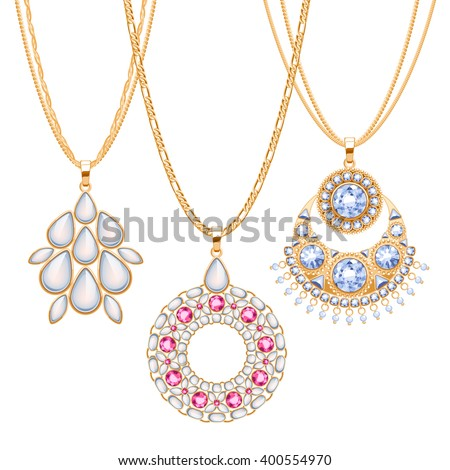 Set golden chains different pendants precious stock vector hd set of golden chains with different pendants precious necklaces ethnic indian style brooches pendants aloadofball Gallery