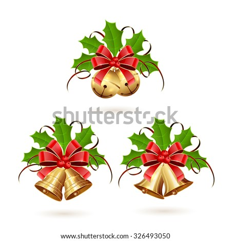 Set of golden Christmas bells with red bow, tinsel and holly berries on white background, illustration. - stock vector