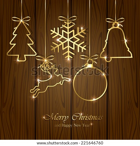 Set of golden Christmas elements on wooden background, illustration. - stock vector