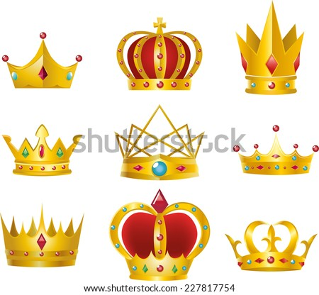 Set of 9 golden crowns vector illustration design - stock vector