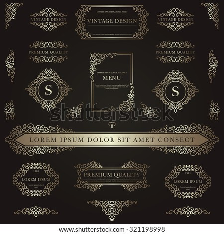 Set of golden decorative vintage design elements for label, logo, emblem design. - stock vector