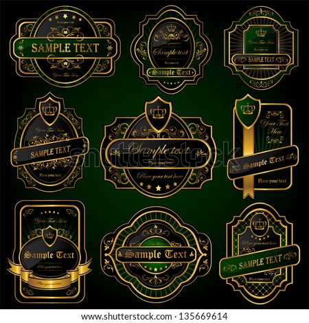 Set of Golden labels, illustration - stock vector