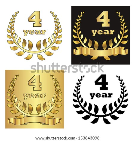 set of golden laurel wreath with golden digit of jubilee years, golden ribbon on golden, black and white background. eps10 vector illustration