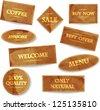 Set of golden old paper vector labels. - stock vector