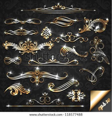 Set of golden ornate design elements - stock vector