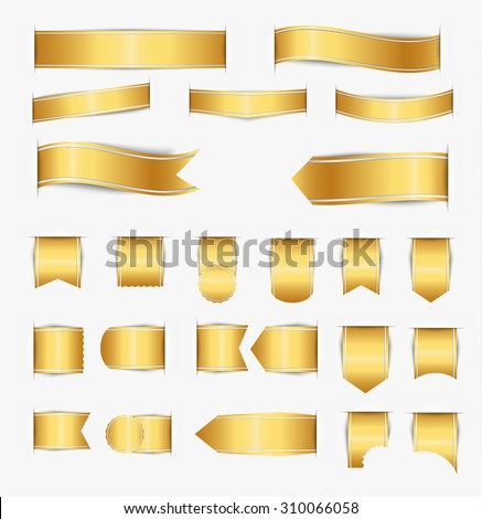 Set of golden ribbons of different web forms with shadow. Vector illustration - stock vector