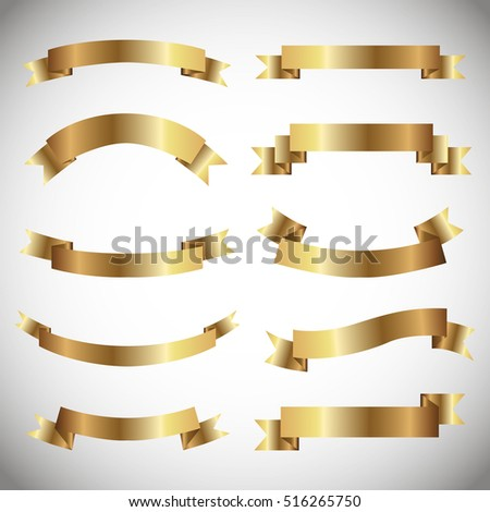 Set of golden ribbons on gray background. vector illustration.