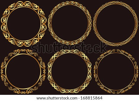 set of golden round frames - stock vector