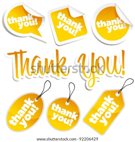 Set of Golden Shiny Thank You Stickers and Tags - stock vector