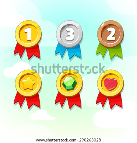 Set of Golden, Silver and Bronze Medals. Vector GUI elements for mobile games - stock vector