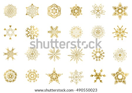 Set of 24 Golden snowflakes on a white background. Christmas and new year clip art. Can be used for scrapbooking, greeting cards, digital scrapbooks, web graphics, posters, banners and other designs.