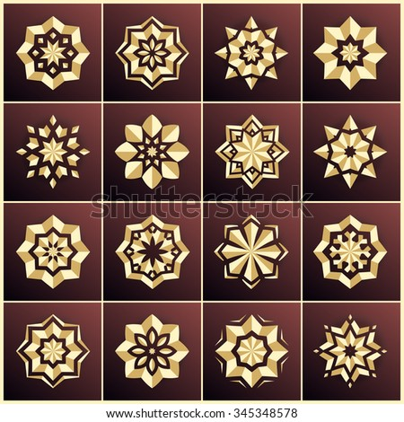 Set of golden snowflakes. Set of gold stars. The bulk of the star. Large set. Christmas snowflakes. Holiday decorations. Volumetric golden snowflake on a dark background. Christmas star. Mandala.  - stock vector