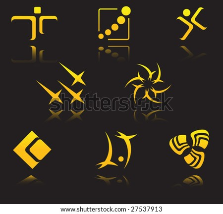 Set of golden symbols on black with reflection - abstract emblem or logo template. Jpeg version also available